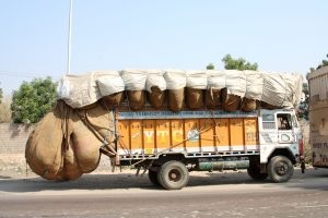 truck that has been overloaded