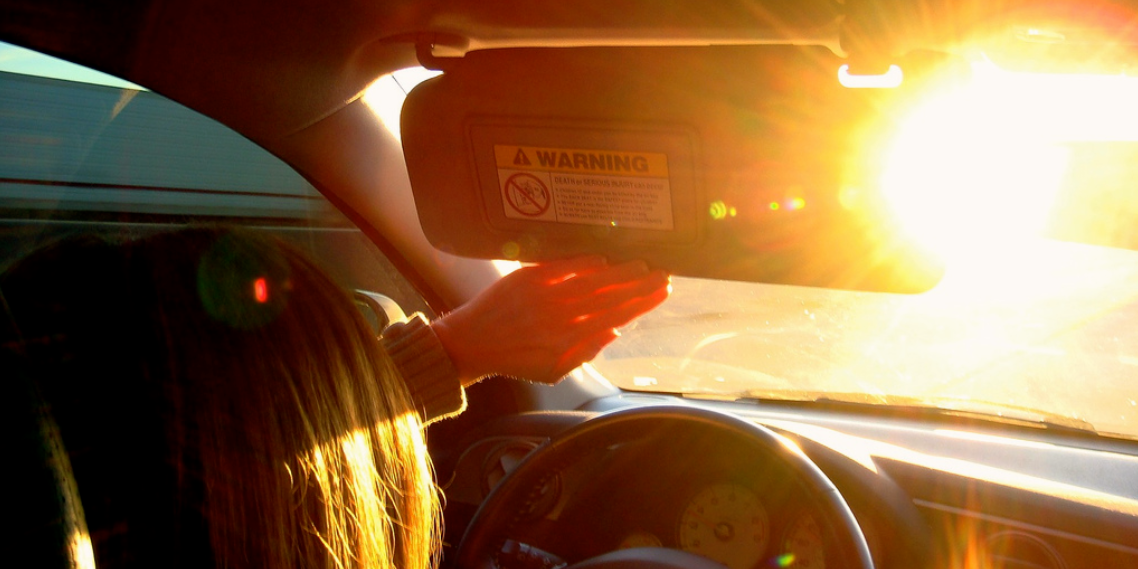 Sun blindness while driving