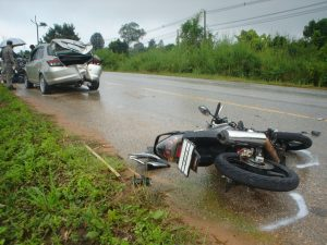 motorcycle crashed into car