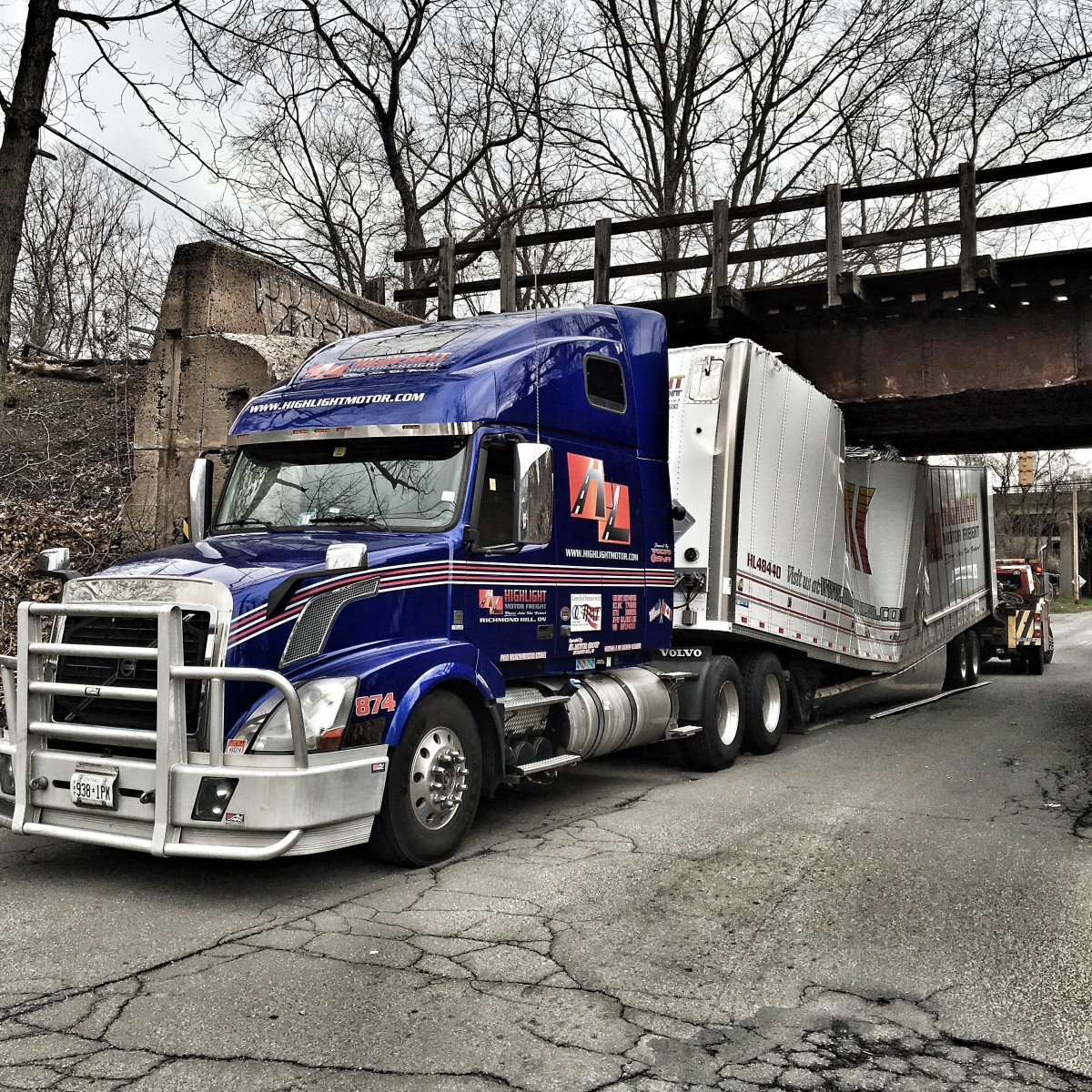 truck bridge collision
